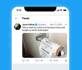 Tweet from Jason Aldean joke about toilet paper.