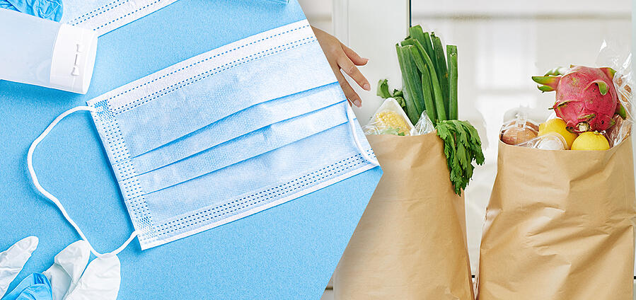 Image showing face masks transitioning into groceries.