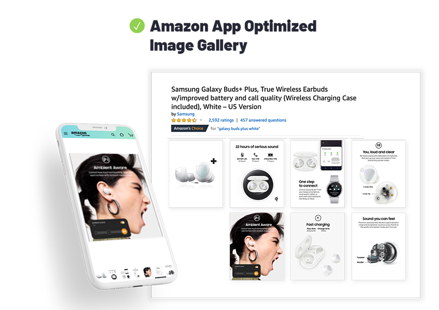 Samsung Galaxy Buds layout of Optimized Image Gallery.