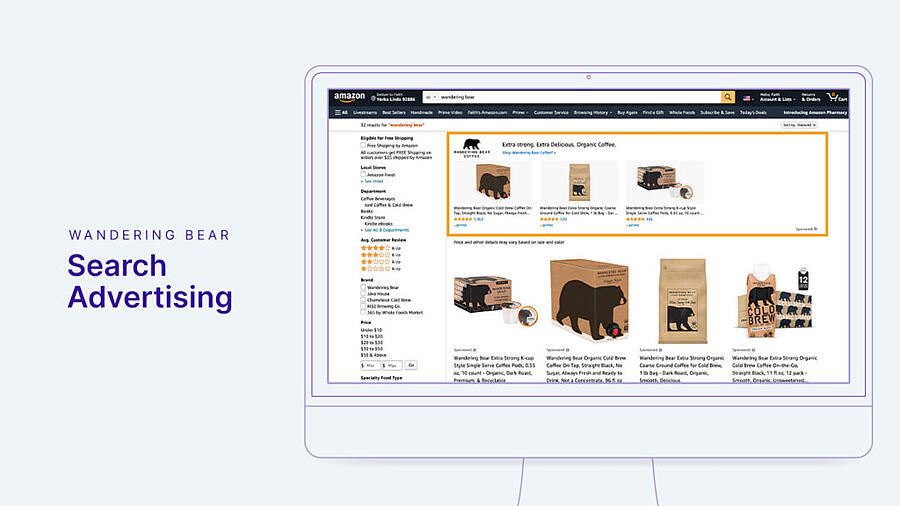 Wandering Bear advertisement example for Amazon Search.