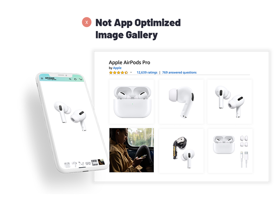 Apple AirPods Pro layout of Not Optimized Image Gallery.