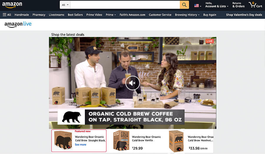Amazon Live QVC showing people talk about and sell Wandering Bear Coffee.