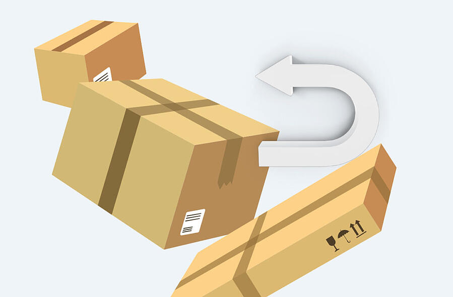 Graphic image representing package returns.