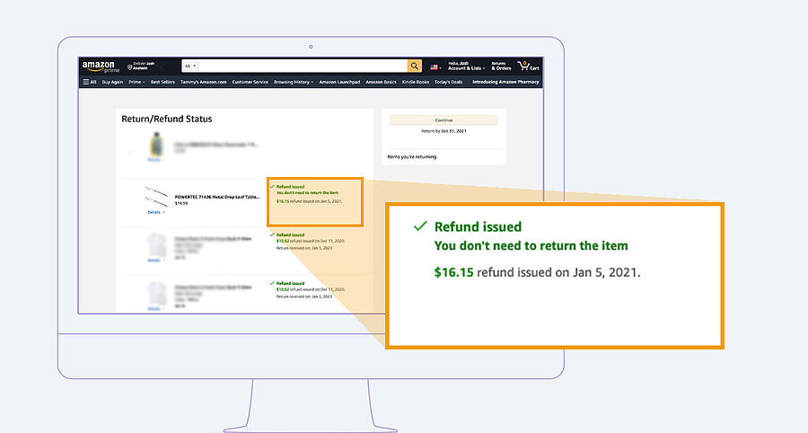 """Amazon return screen with pop-up showing statement, """"You don't need to return this item""""."""